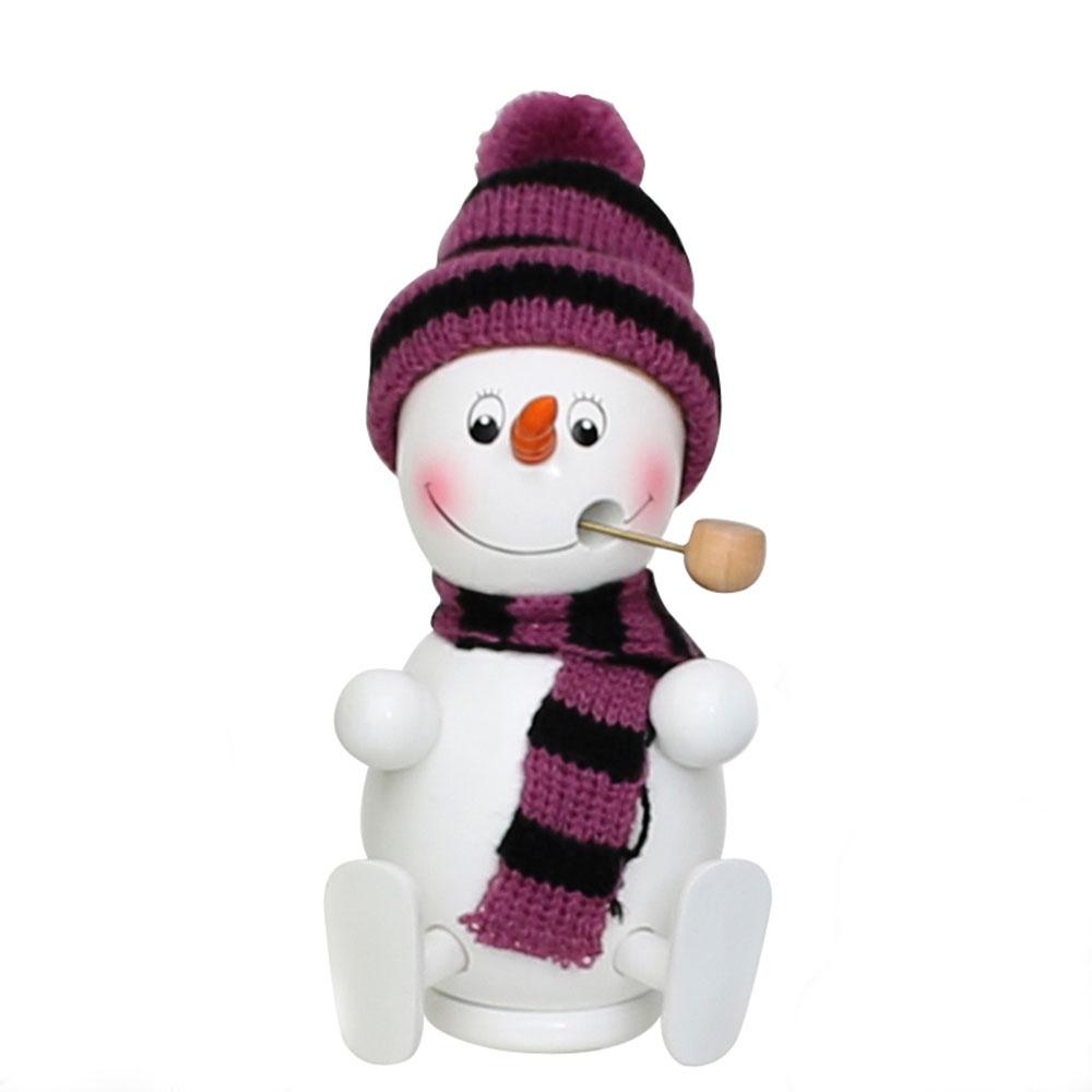 Räuchermännchen Schneemann mit Mütze und Schal lila 13 cm