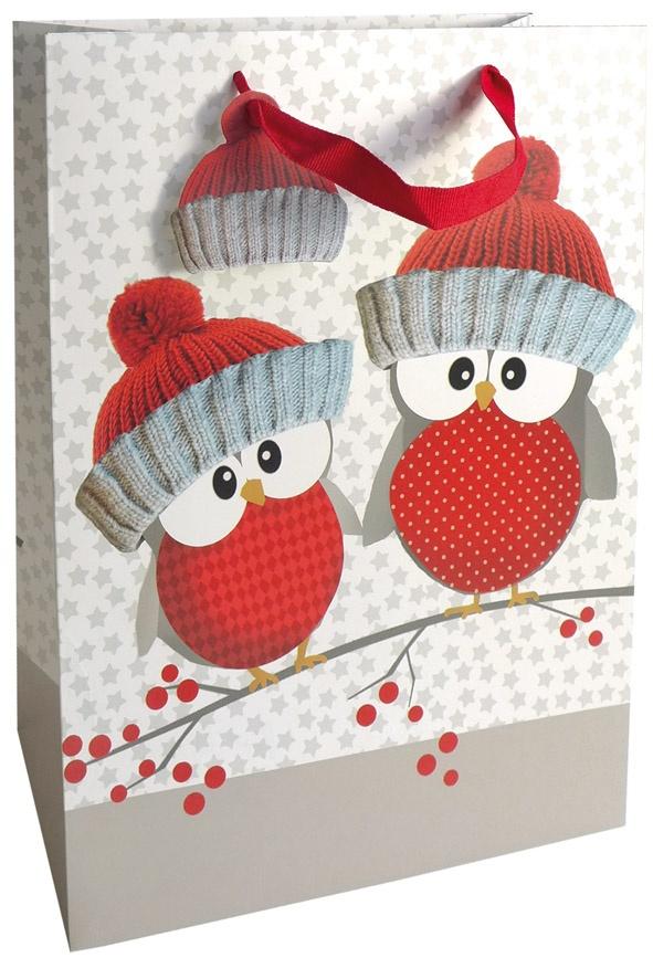 Geschenktasche Weihnachten Owl Brothers Eulen 25 x 33 cm