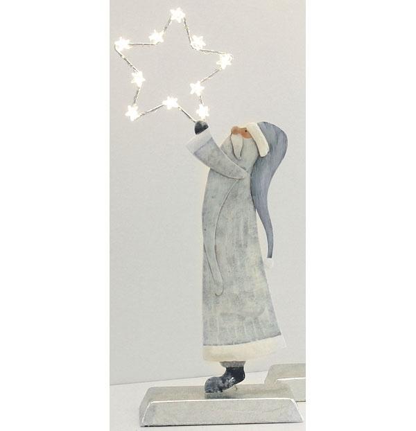 Dekofigur Santa mit LED-Stern Metall silber/creme/grau 35 cm