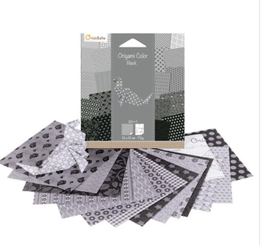 Avenue Mandarine Origami Papier Urban 12 x 12 cm schwarz/wei