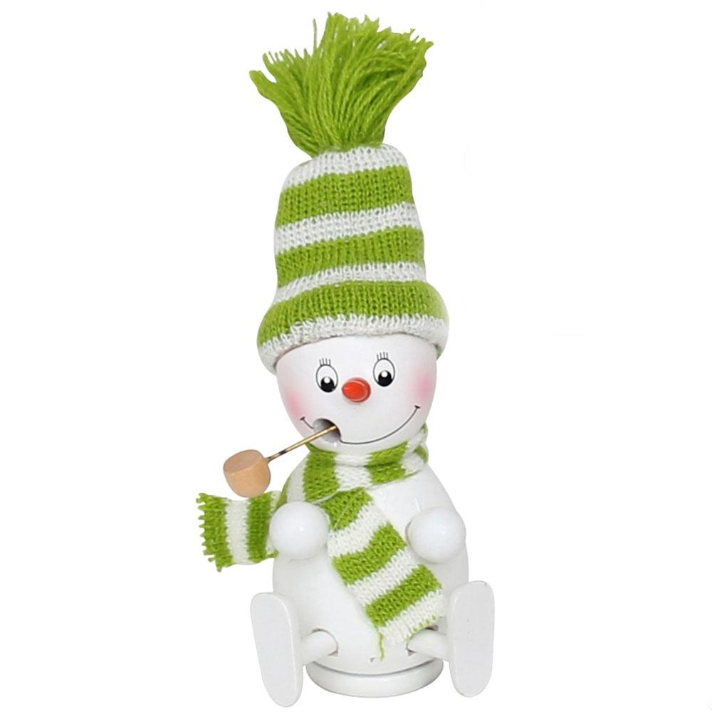 Räuchermännchen Schneemann mit Mütze und Schal grün 13 cm