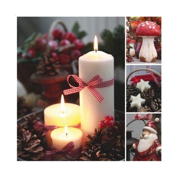 Servietten Weihnachten Trois Bougies Blanches