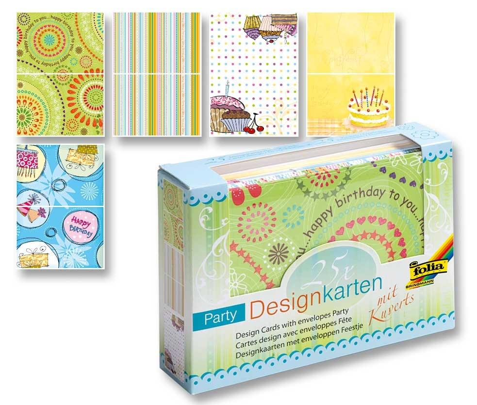 Folia Designkarten-Set Party mit Umschlägen