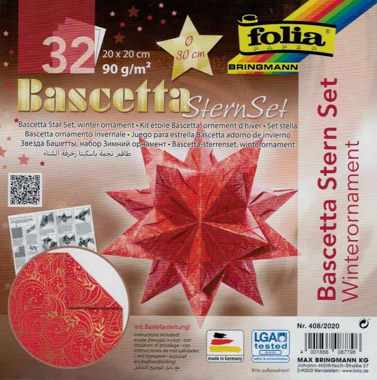 Folia Bastelset Bascettastern Winterornament rot/gold