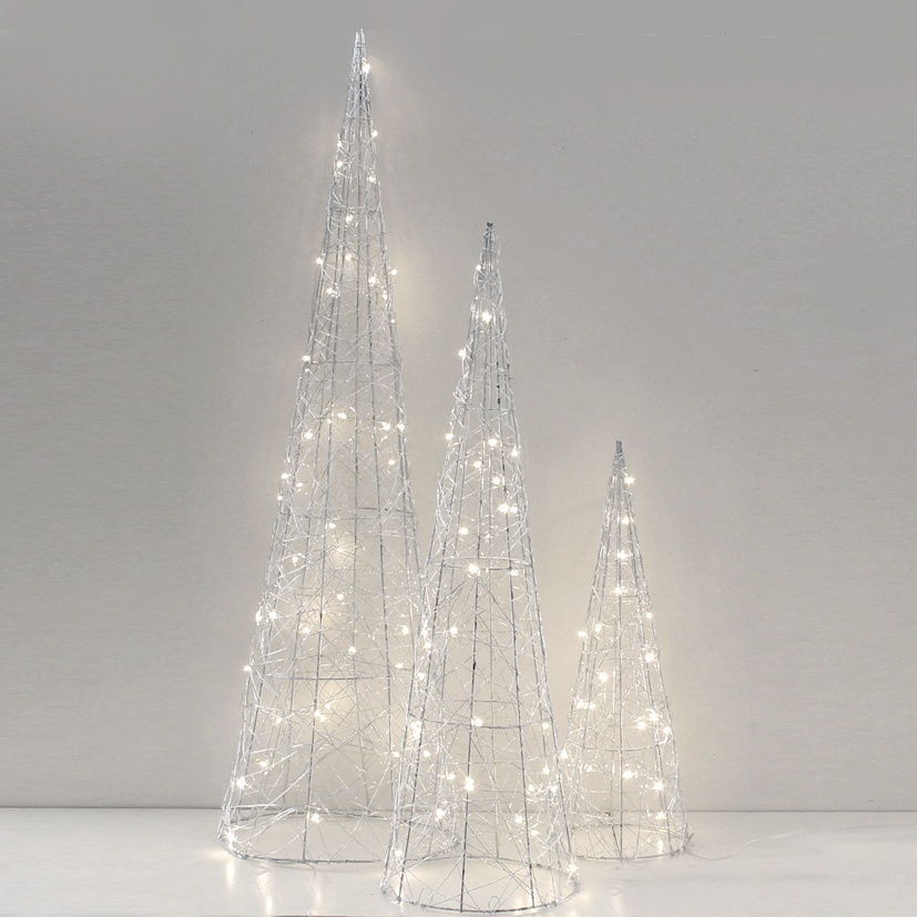 Lichtdekoration Kegel silber 35 LED-Lichter 60 cm