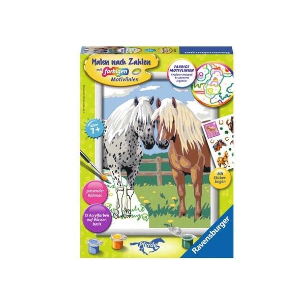 Malen nach Zahlen Glückliche Pferde