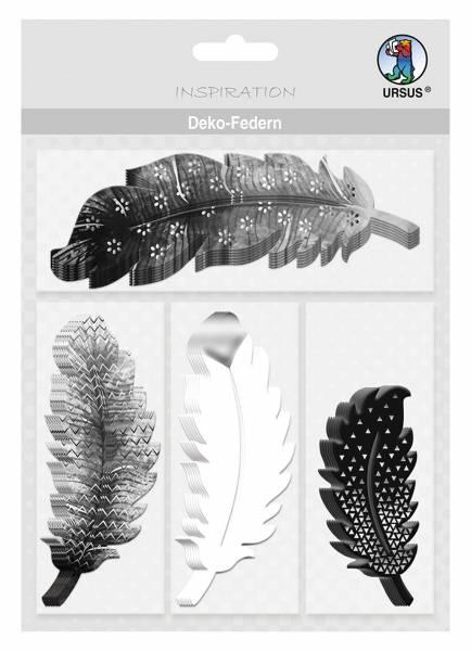 Bastelmaterial Deko-Federn schwarz/weiß