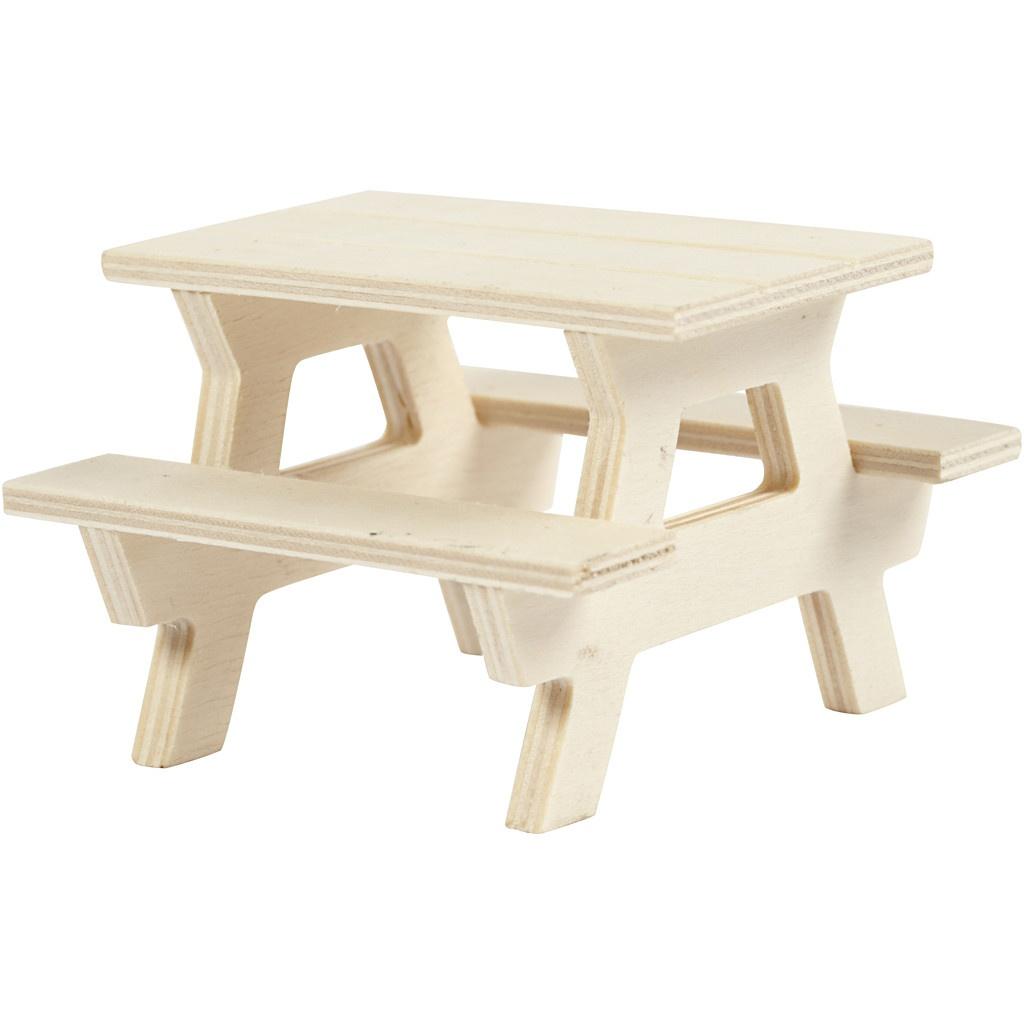Bastelmaterial Mini Picknick-Tisch mit Bank 8 x 8 x 5,5 cm