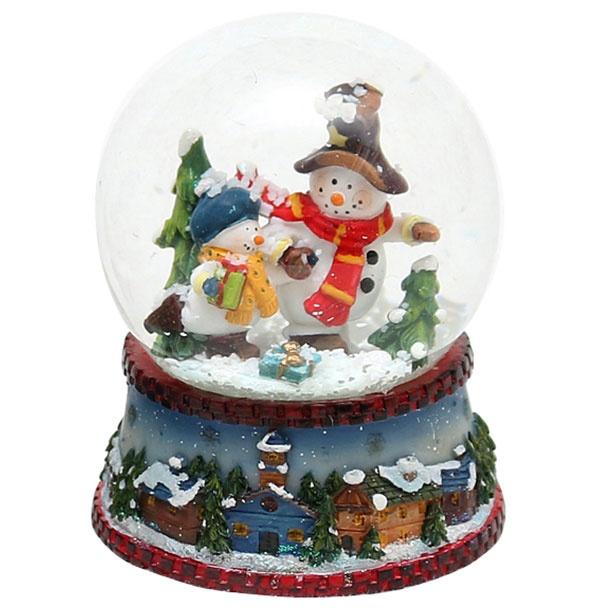 Schneekugel Schneemann im Wald 8,5 cm
