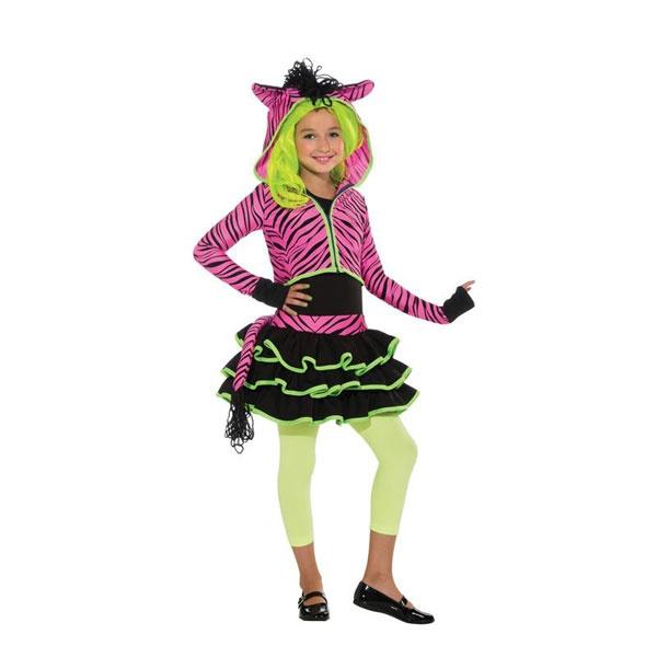 Kostüm Neon Pink Zebra Hoodie S 3-4 Jahre
