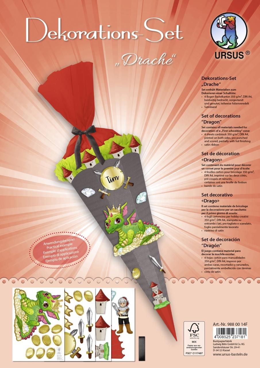 Bastelset Dekorations-Set für Schultüte Drache
