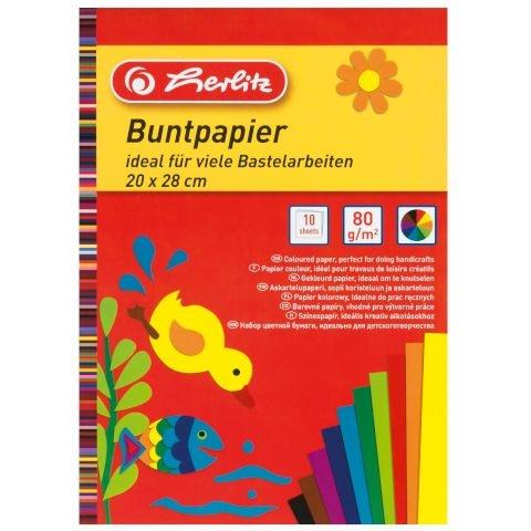 Herlitz Buntpapierblock 20 x 28 cm 10 Blatt