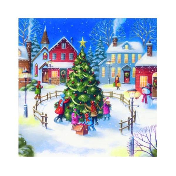 Servietten Weihnachten Christmas Village with Children
