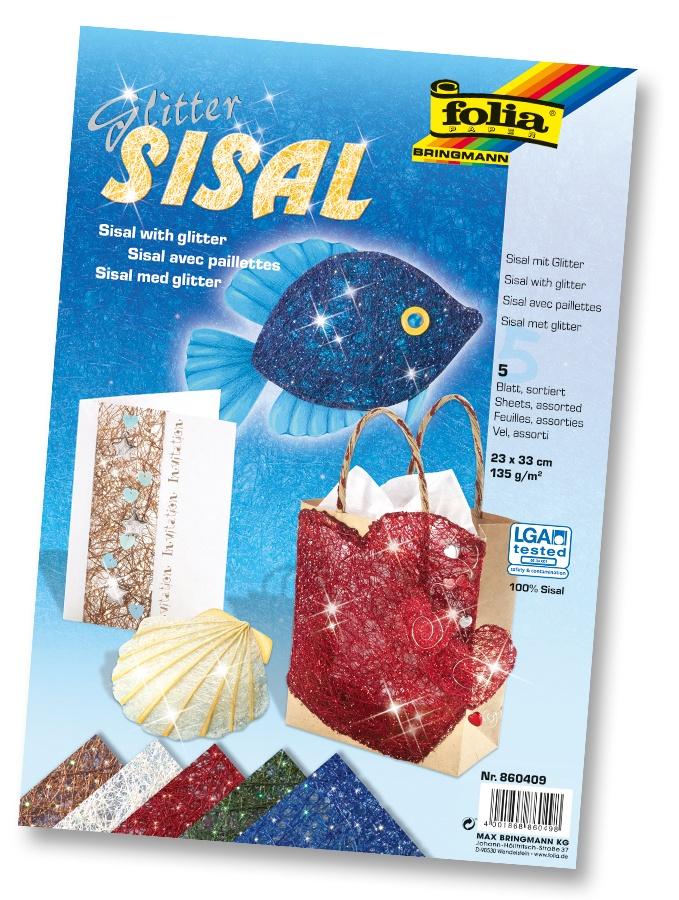 Folia Bastelmaterial Sisal mit Glitter