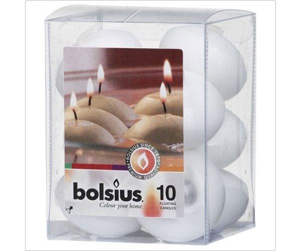 Bolsius Schwimmkerzen weiß 10 Stück