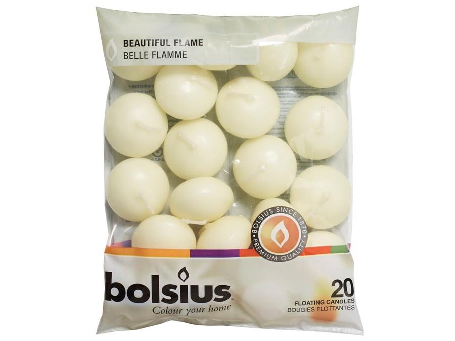 Bolsius Schwimmkerzen elfenbein 20 Stück