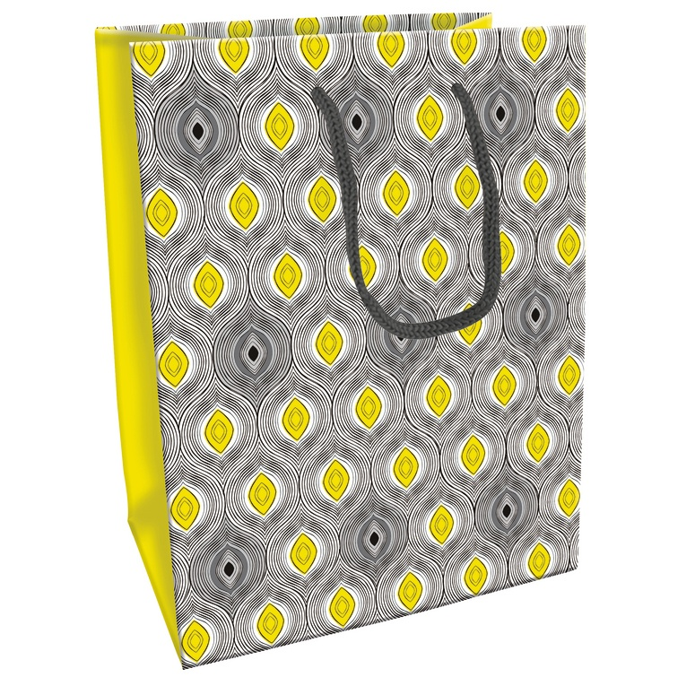 Geschenktasche Ethnic gelb/grau 19 x 12 x 25 cm