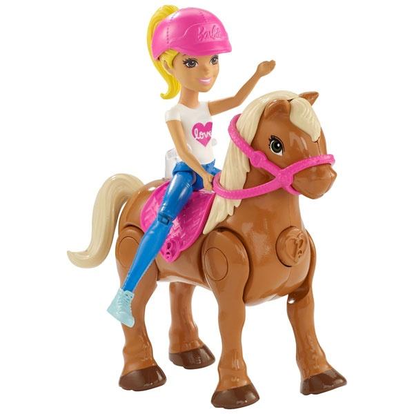 Barbie On The Go Puppe (blond) & hellbraunes Mini Pony