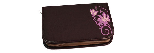 Take it Easy Beauty Flower braun Etui leer mit zwei Klappen