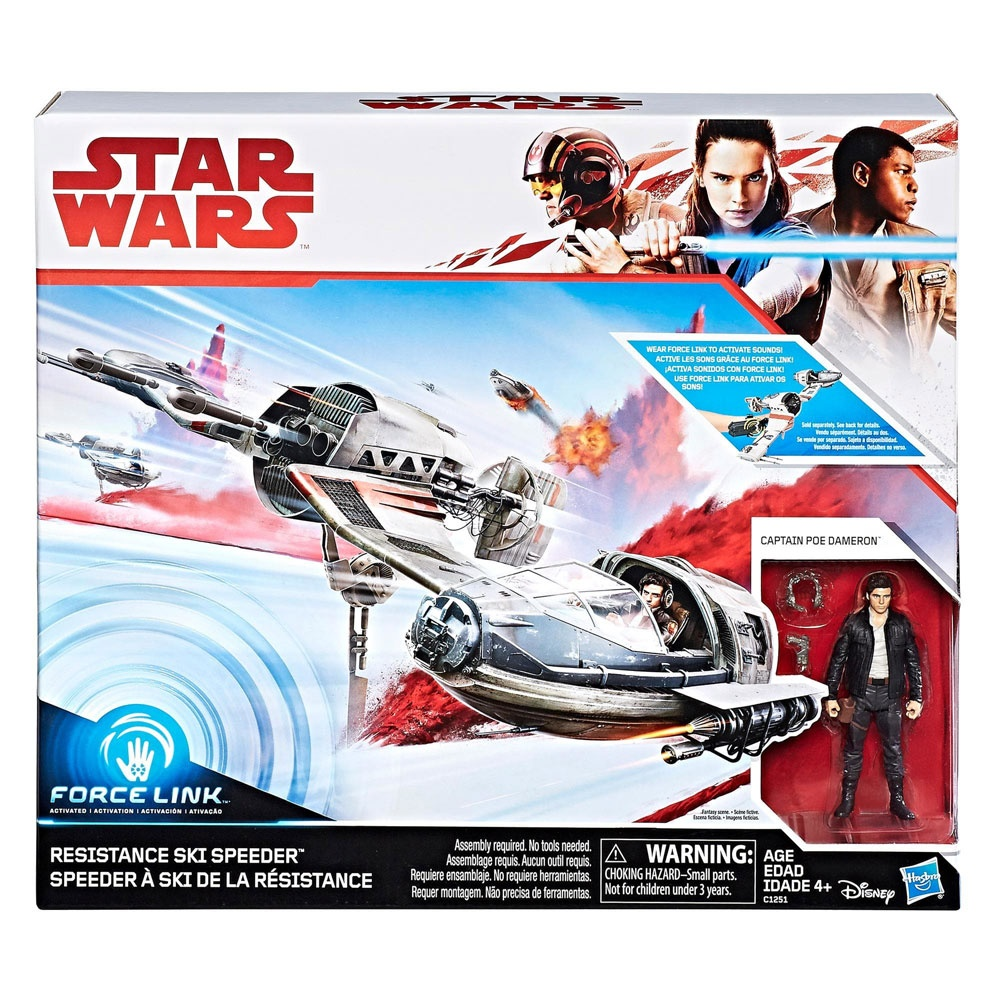 Star Wars Force Resistance Ski Speeder und Captain Poe