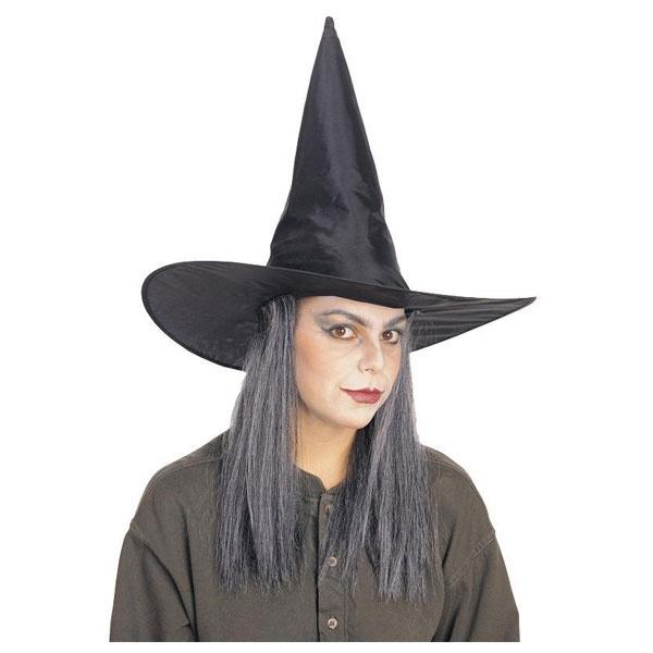 Kostüm-Zubehör Hexenhut mit grauen Haar schwarz