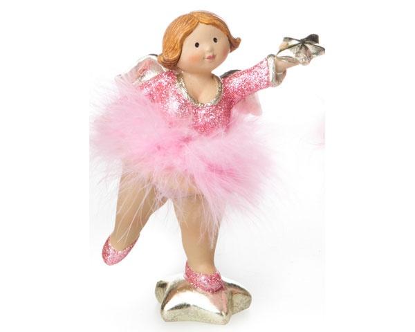 Dekofigur Engel mit rosa Tütü und Glitzer Stern vor