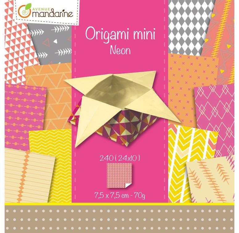 Avenue Mandarine Origami Papier Neon 240 Blatt 7,5 x 7,5 cm