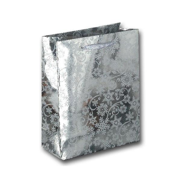 Papiertüte Schneeflocke silber 18x8x23cm
