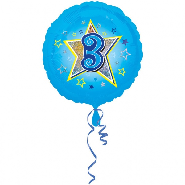 Folienballon Blaue Sterne Zahl 3 43 cm