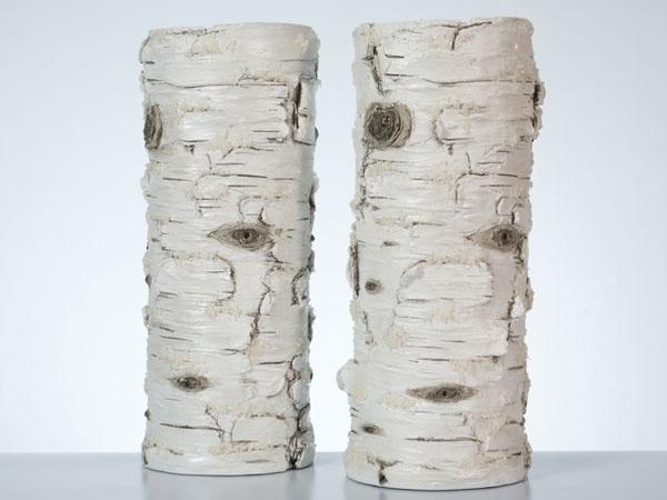 Vase Birke aus Steinharz 38 cm