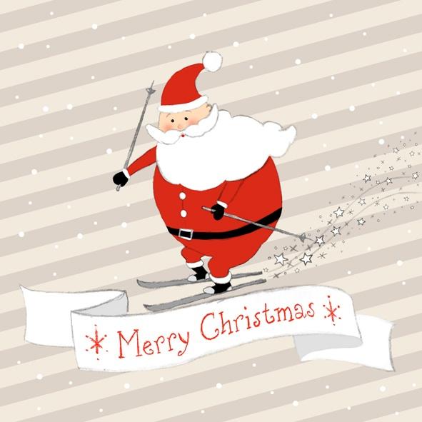 Servietten Weihnachten Santa auf Ski