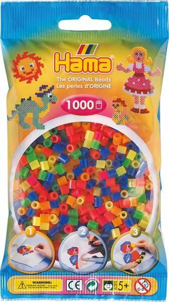 Hama Bügelperlen 1000 Stück Neon-Farben gemischt