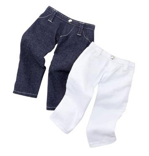 Götz Puppenkleidung Jeansset blau/weiß Gr. 46-50 cm