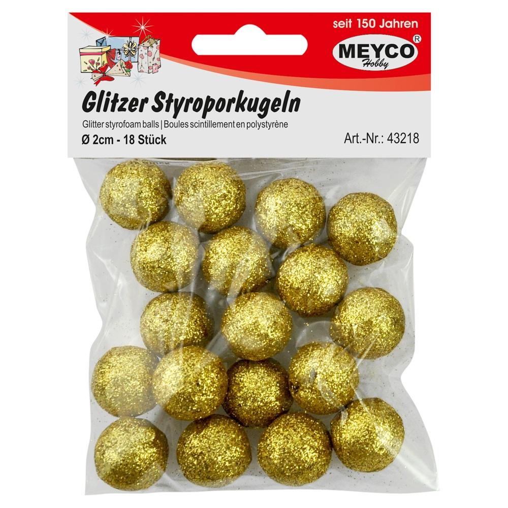 Glitzer-Styroporkugeln 18 Stück gold 20 mm