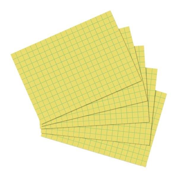 Karteikarten A6 100 Stück kariert gelb