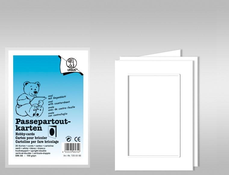 Passepartoutkarten A6 rechteckig weiß 25 Stück