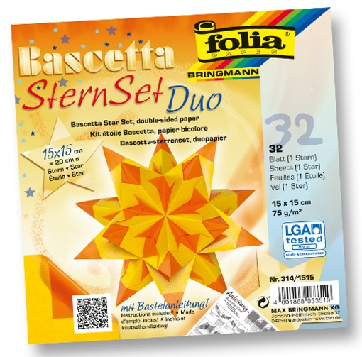 Folia Bastelset Bascettastern gelb/orange 15 x 15