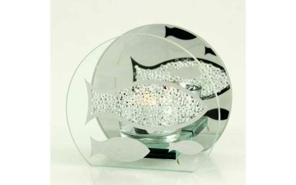 Teelichthalter aus Glas Fisch-Design 10 cm