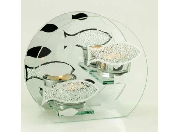 Teelichthalter aus Glas Fische