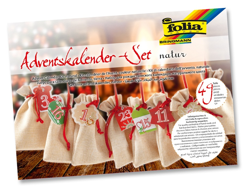 Folia Adventskalender-Set Beutel in Juteoptik  natur
