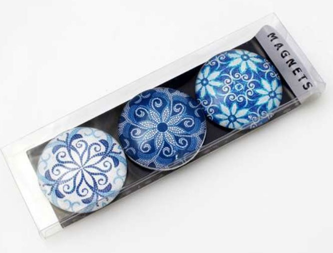 Magnete-Set Blumen blau 3 Stück 5 cm