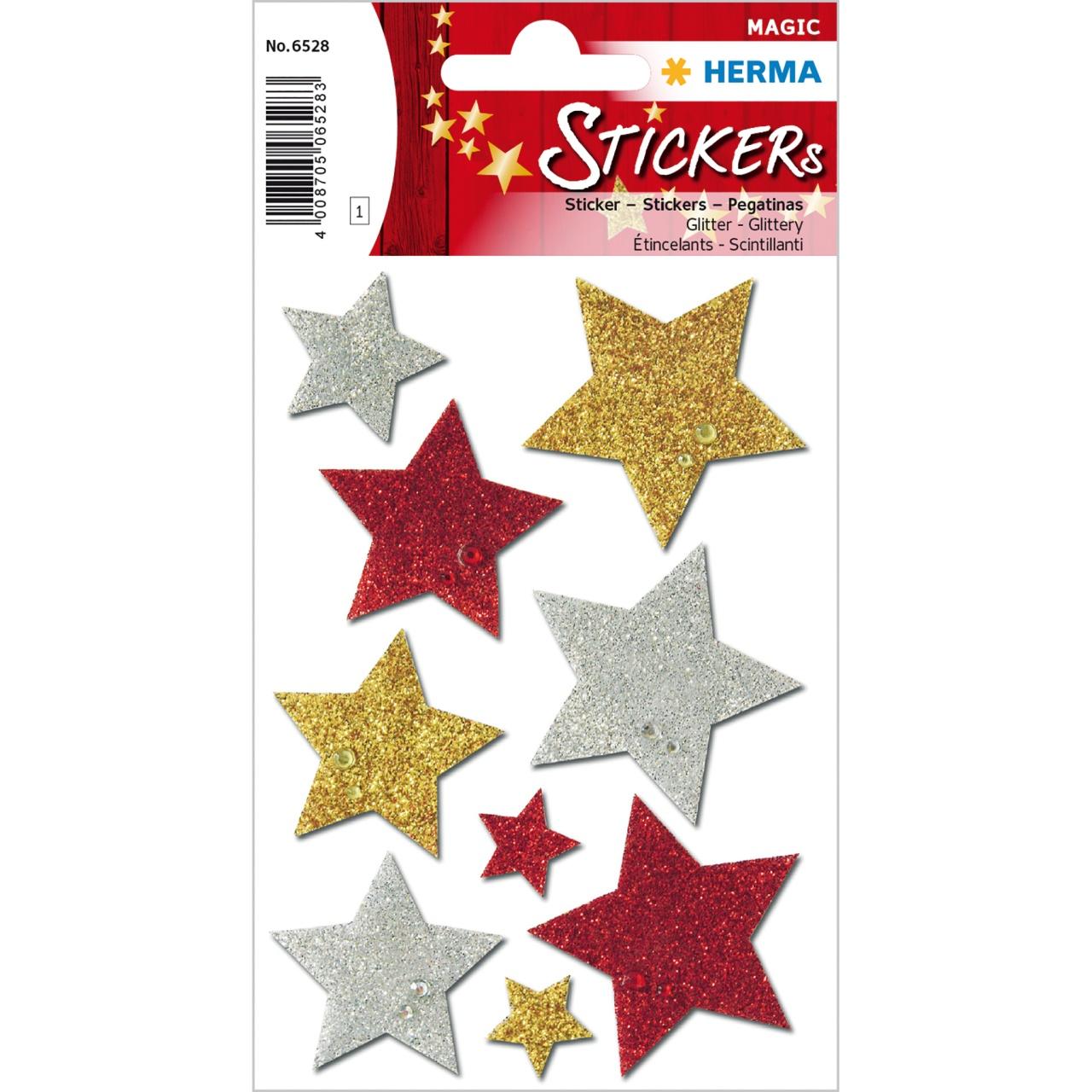 Herma Etikett  Weihnachten Sterne mit Glitter