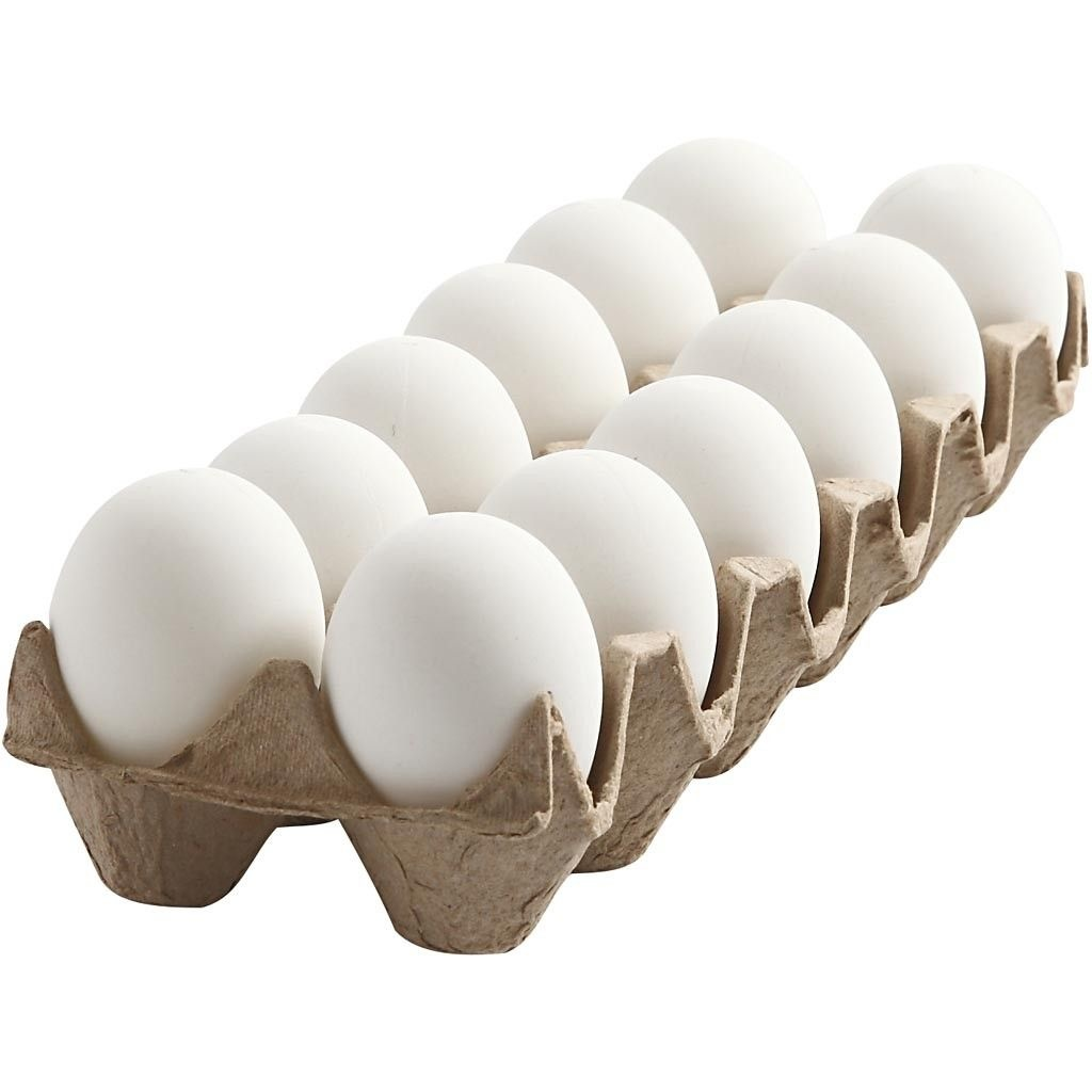 Oster-Eier Kunststoff weiß 12 Stück 6 cm