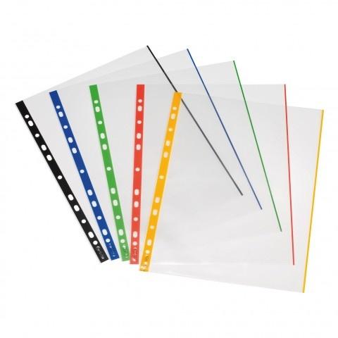 Herlitz Prospekthülle A4 glasklar 50 Stück mit farbigen Rand