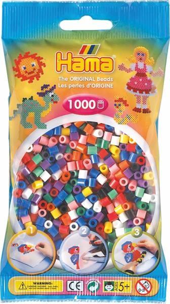 Hama Bügelperlen 1000 Stück 10 Farben gemischt