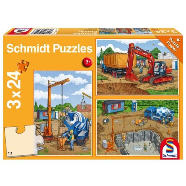 Puzzle Auf der Baustelle 3x24 Teile