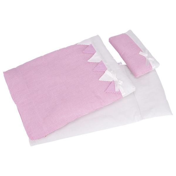 Puppenbettzeug rosa Streifen