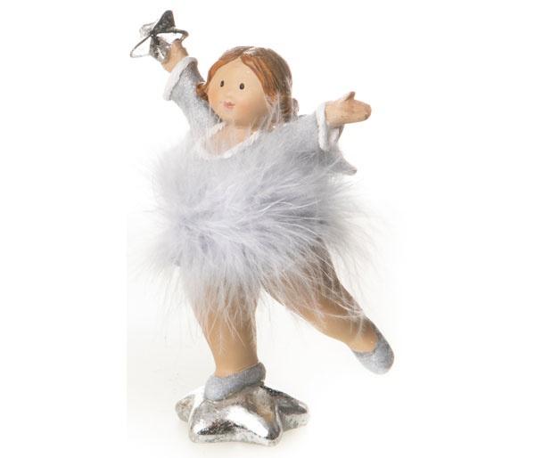 Dekofigur Engel auf Silberstern mit Tütü l