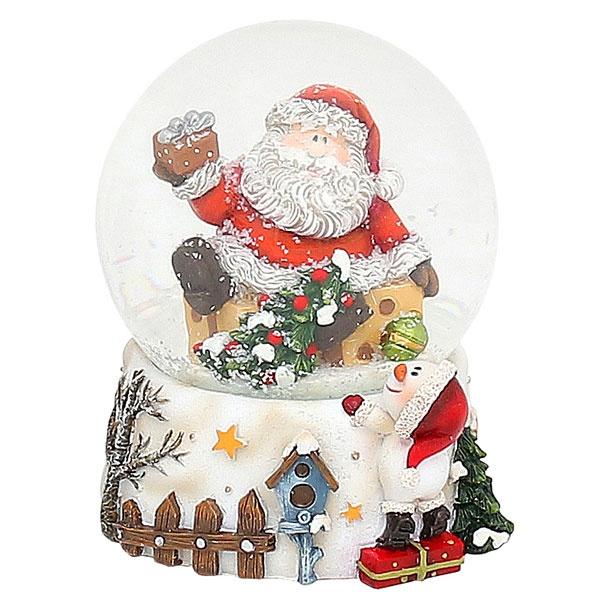 Schneekugel Weihnachtsmann mit Tannenbaum 9,5 cm