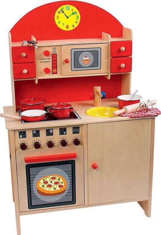 Kinderküche aus Holz in rot von Beluga